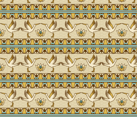 Egyptian ornate bird border fabric by cjldesigns on Spoonflower - custom fabric
