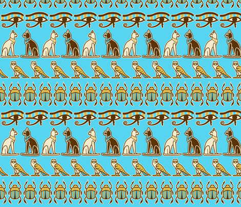 Egyptian odd one out blue fabric by cjldesigns on Spoonflower - custom fabric