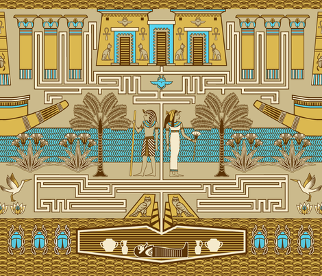 Egyptian maze fabric by cjldesigns on Spoonflower - custom fabric