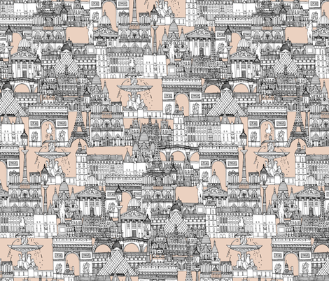 Paris toile sugar pink fabric by scrummy on Spoonflower - custom fabric