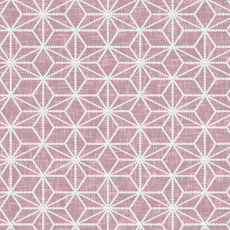 Hemp leaf pattern pearls on denim pink by Su_G fabric by su_g on Spoonflower - custom fabric