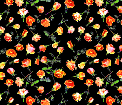 roses black col. 1 fabric by patternmaker on Spoonflower - custom fabric