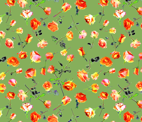 roses light green col. 7 fabric by patternmaker on Spoonflower - custom fabric