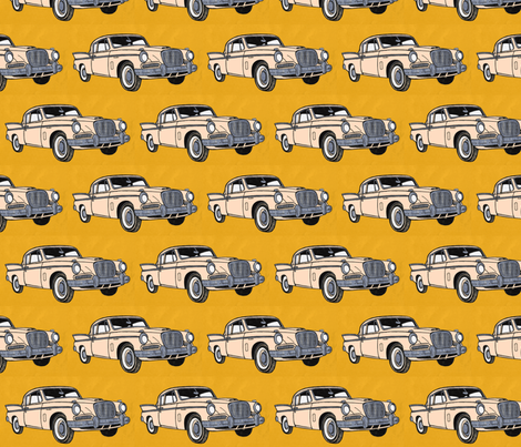 1957 tail finned Studebaker Hawk in peach fabric by edsel2084 on Spoonflower - custom fabric