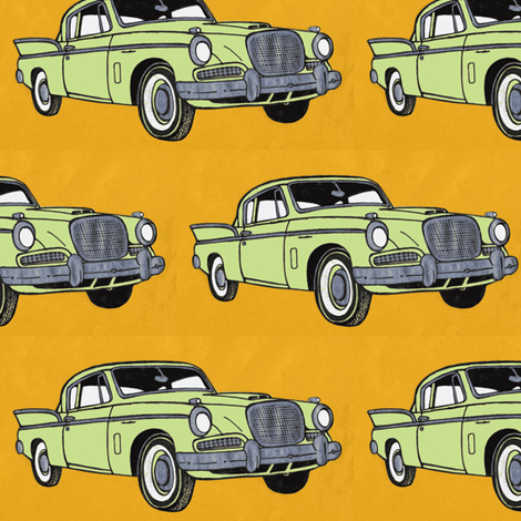 1957 Studebaker Hawk with fins (lime on goldenrod) fabric by edsel2084 on Spoonflower - custom fabric