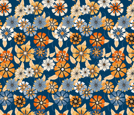 Blue Floral fabric by kezia on Spoonflower - custom fabric