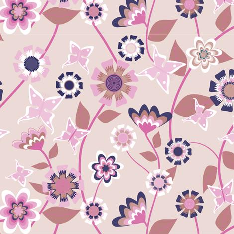 Folk Floral Pink fabric by kezia on Spoonflower - custom fabric