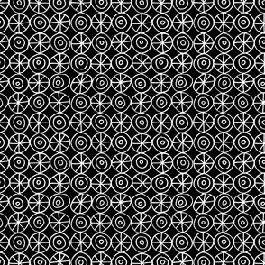 Stars and Circles. White on Black