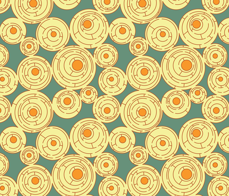 Maze in Turquoise and Orange, alternate fabric by meduzy on Spoonflower - custom fabric