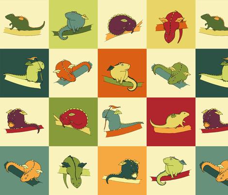 Dragon Squares fabric by meduzy on Spoonflower - custom fabric