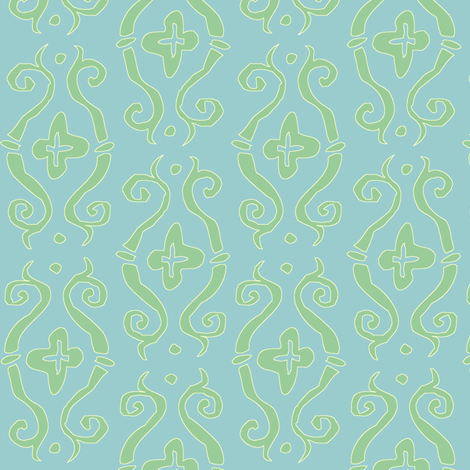 baroque lozenge, in mermaid fabric by tractorgirl on Spoonflower - custom fabric