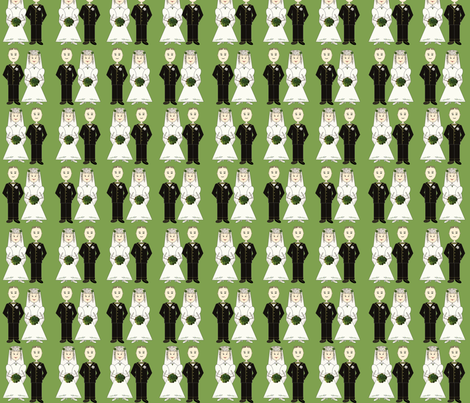 bride & groom in a row-green 94 148 56 fabric by petals_fair_(peggy_brown) on Spoonflower - custom fabric