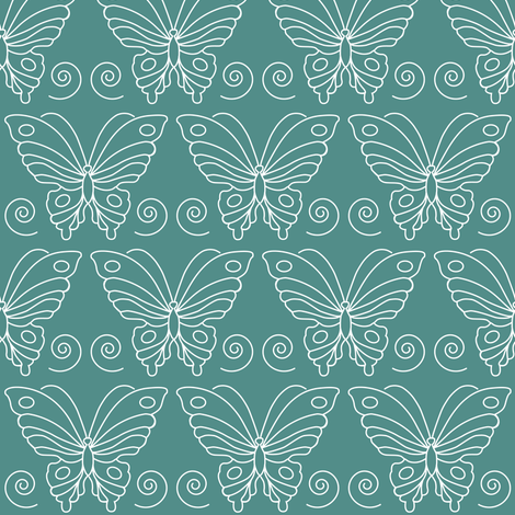 Butterfly-2 - white-lines on BLUEGREEN-175 fabric by mina on Spoonflower - custom fabric