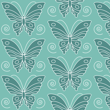 Butterfly drawing 2 -  dk bluegreen 175 on lt minagreen 170 fabric by mina on Spoonflower - custom fabric