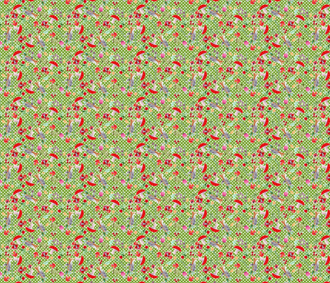 meli melo petit chaperon rouge fond vert pois S fabric by nadja_petremand on Spoonflower - custom fabric