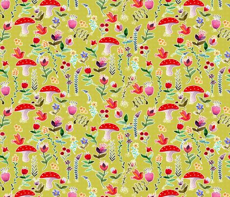 fleur des bois vert L fabric by nadja_petremand on Spoonflower - custom fabric