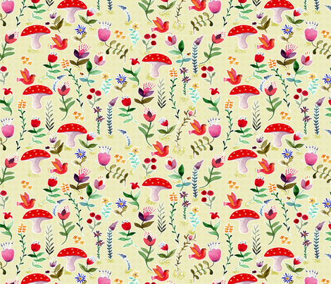 fleur des bois blanc L fabric by nadja_petremand on Spoonflower - custom fabric