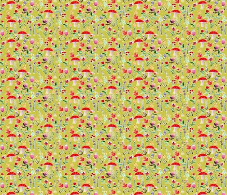 fleur des bois vert S fabric by nadja_petremand on Spoonflower - custom fabric