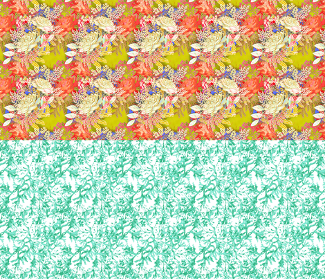 Doll split yard Bohemian Roses and seaweed in aqua fabric by joanmclemore on Spoonflower - custom fabric