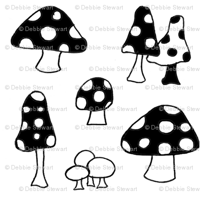 toadstools - black