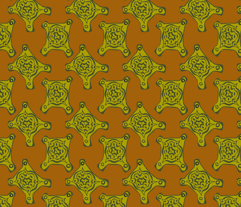green_orange_rectangle_tattoo fabric by chewytulip on Spoonflower - custom fabric