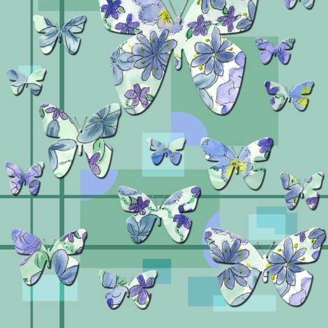 Blue Green Butterfly fabric by countrygarden on Spoonflower - custom fabric