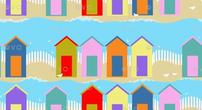beach huts at high tide