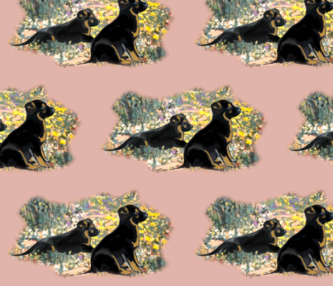 German Shepherd Puppies in the garden fabric by dogdaze_ on Spoonflower - custom fabric