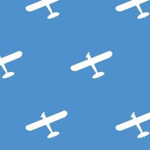 White Propeller Plane Overhead