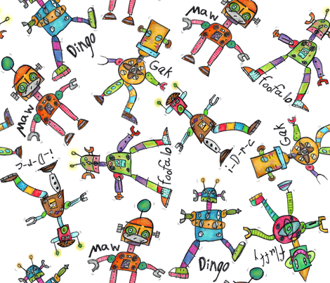 Grey's Robots fabric by marleyungaro on Spoonflower - custom fabric
