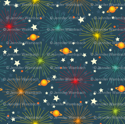 Space Alphabet Fireworks scatter print