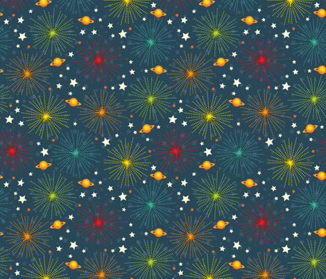 Space Alphabet Fireworks scatter print fabric by jennartdesigns on Spoonflower - custom fabric