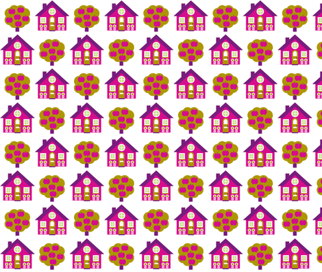 Magenta house fabric by aliceapple on Spoonflower - custom fabric