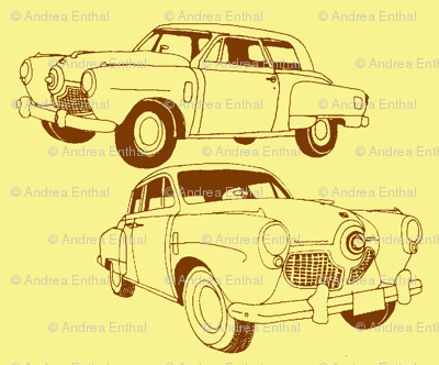 1951 bulletnose Studebaker, brown on yellow