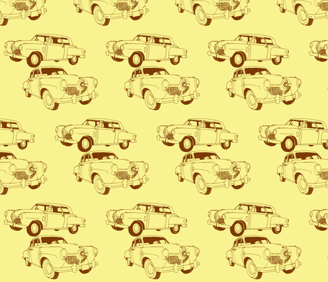 1951 bulletnose Studebaker, brown on yellow fabric by edsel2084 on Spoonflower - custom fabric