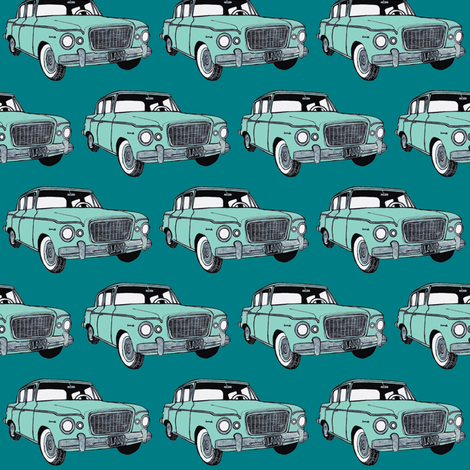 green Studebaker Lark on teal (diagonal rows) fabric by edsel2084 on Spoonflower - custom fabric