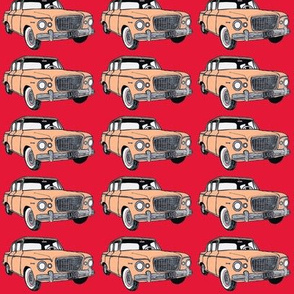 Salmon Studebaker Lark in straight rows on red background