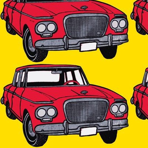 big red 1962-1963 Studebaker Lark on yellow background