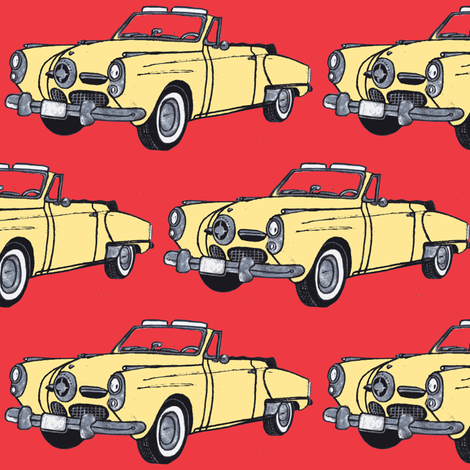 big cream yellow 1950 Studebaker convertible bullit nose on red fabric by edsel2084 on Spoonflower - custom fabric
