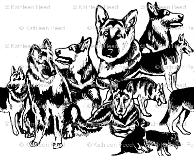 German Shepherd Black On white Collage