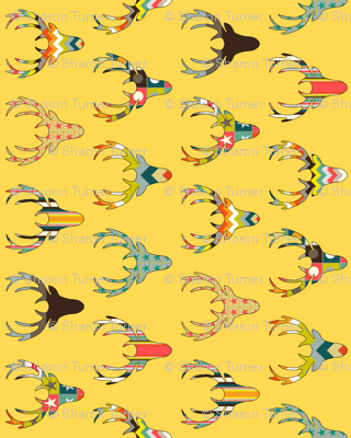 90° retro deer head yellow