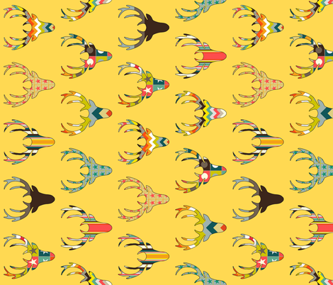 90° retro deer head yellow fabric by scrummy on Spoonflower - custom fabric