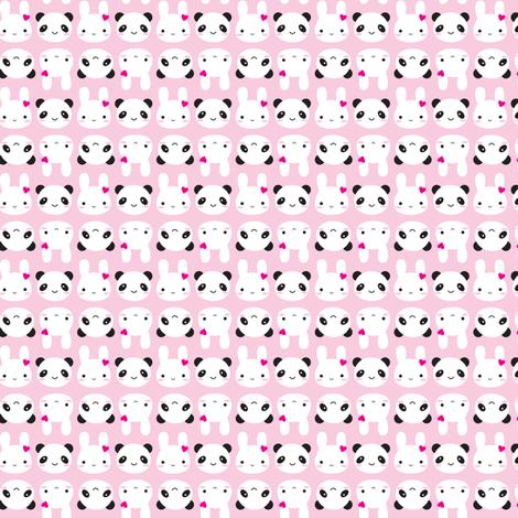 Tiny Bunny & Panda - Pink fabric by marcelinesmith on Spoonflower - custom fabric