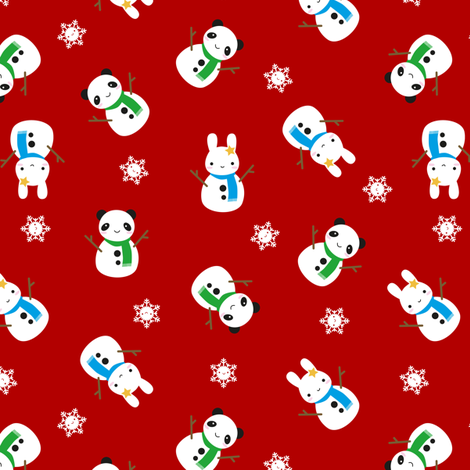 Snow Bunny & Snow Panda (Red) fabric by marcelinesmith on Spoonflower - custom fabric