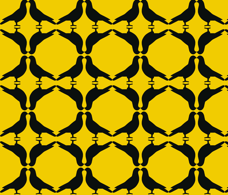 Pigeon Circles-Gold fabric by relative_of_otis on Spoonflower - custom fabric