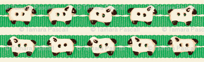 Sheep on Green Ribbons Double Line