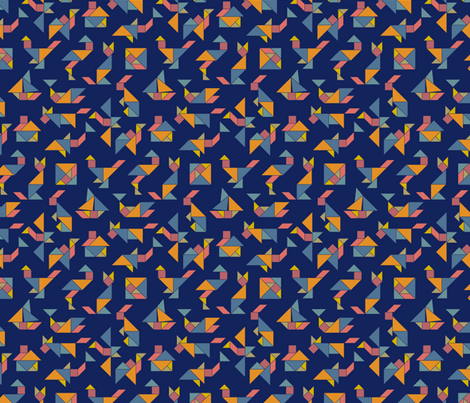 Tangram Fever on Blue fabric by annosch on Spoonflower - custom fabric