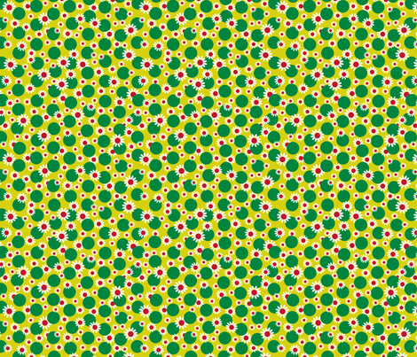 Green Dots and Daisies fabric by carinaenvoldsenharris on Spoonflower - custom fabric