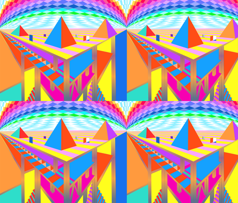 Brightly Colored Great Pyramids - Blythe Ayne fabric by blythe_ayne's_fabric_designs on Spoonflower - custom fabric