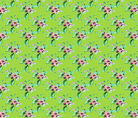 Roses in pink with green background fabric by joanmclemore on Spoonflower - custom fabric